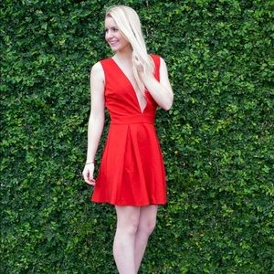 Red Deep V Lucy Paris dress in red